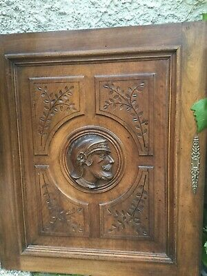 """Antique wood French Door architectural Furniture Walnut 23"""" 27"""" Military Carved"""