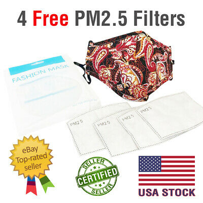 Reusable Cotton Face Mask Black PM2.5 Respirator Cover 4 Filter Unisex USA SHIP