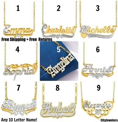 Personlized Sterling Silver 14K Gold Double Plated Name Pendant Chain 18styles