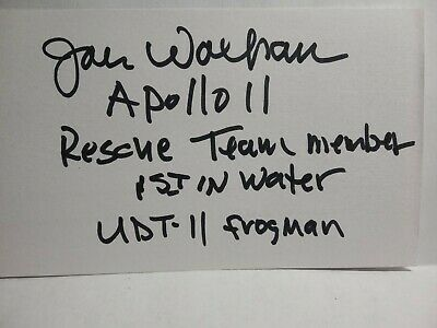 JOHN WOLFRAM Authentic Hand Signed 3X5 INDEX CARD -NAVY SEAL,APOLLO 11 RECOVERY