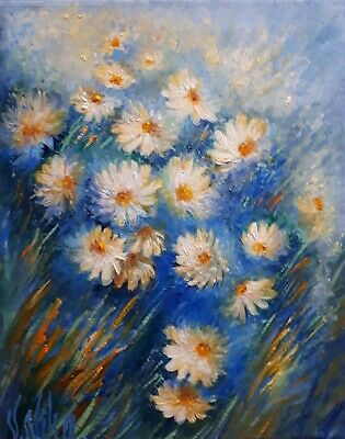 Original Abstract Oil Art Floral Small Daisies Field