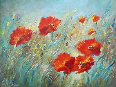 Original Abstract Oil Art Floral Poppies Field