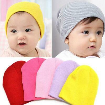 1PC Baby Boy Girl Kids Solid Color Cotton Beanie Children Soft Knitted Hat Caps