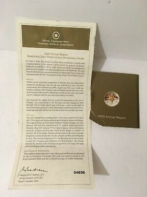 Canada: 2005 5 Cent Victory Gold Plated Sterling Silver from RCM Sealed w/COA