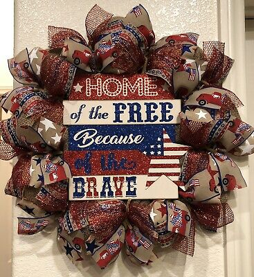 Farmhouse HOME OF THE FREE Burlap DECO MESH Wreath VINTAGE TRUCK 4th of July