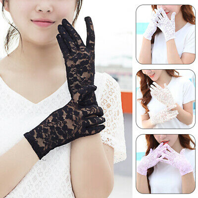 1Pair Thin Sun Protection Female Gloves Lace Full Finger Anti-skid Fashion