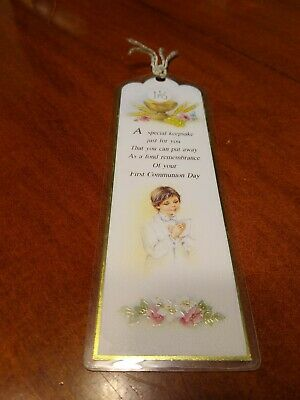 First Holy Communion Laminated Bookmark for Boy