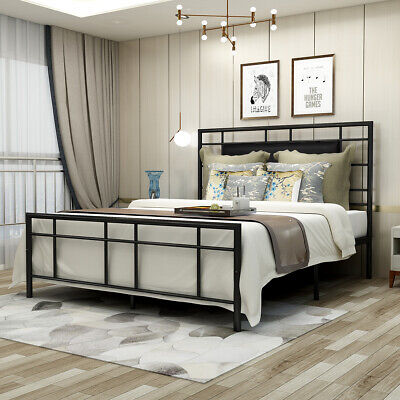 Queen/Full Size Bed Frame Metal Platform Foundation With Headboard Black /Brown