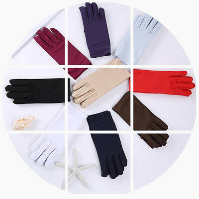Beautiful Wrist Length Short Bridal Satin Gloves In Assorted Colors for Bride US