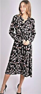Ladies Floral Print Long Dress Long Sleeves Fits Sizes 10//12-12//14-14//16-18 NEW