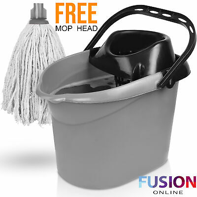 Large Plastic Mop Bucket and Wringer Home Cleaning Dry Floor Clean