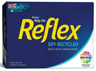 1 x Reflex A4 50% Recycled Copy Paper 80gsm 500 Pages Sheets,1 Ream Free  POST