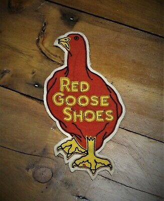 Vintage Red Goose Shoes Bowling Racing Motorcycle Jacket Patch Gas Oil Sign Felt