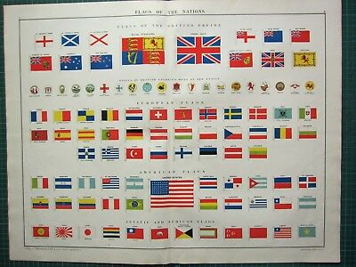 1919 Large Print Flags Of All Nations British Colonies Empire & American