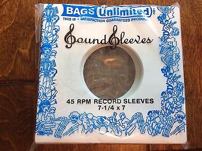 "7"" Record Sleeves bags unlimited sound sleeves Package of 100 45 RPM white paper"