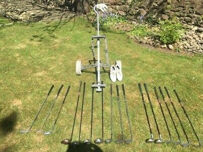 Huge golf bundle - various clubs, trolley, shoes, glove and club covers.