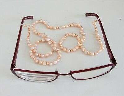 Eye Glasses Lanyard Spectacles Holder Pink Freshwater Pearl & Gold Filled Bead