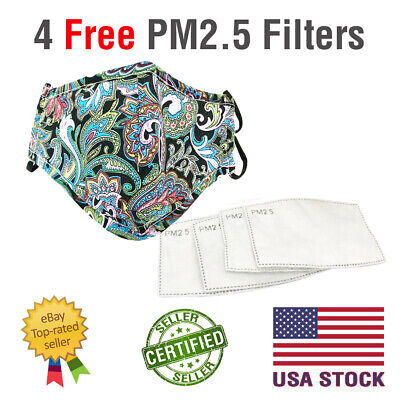 FACE MASK Washable COTTON BLACK GREEN PAISLEY Nose Wire Pocket for PM2.5 Filter