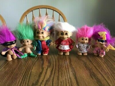 Lot of 9 Vintage Troll Dolls - 1980s - 2 are babies - 1 is a plush
