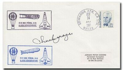 X-1 testpilot Chuck Yeager handsigned EAFB anniversary cover 1987 - 4i41