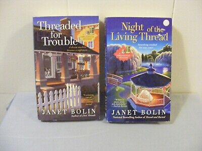 Lot of 2 JANET BOLIN - Cozy Mystery - THREADVILLE #2 #4 - pbs FREE SHIP