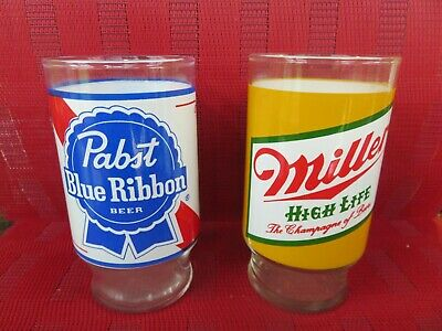 Vintage Miller High Life The Champagne Of Beer & Pabst Blue Ribbon Glass 1970's