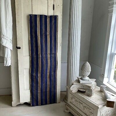 Antique French blue gold silk moire  fabric 19th century fabric material