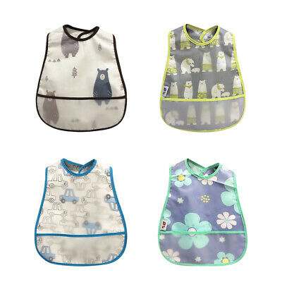 Waterproof Baby Feeding Bib Apron Dribble Catcher Cotton Smock with Food Catcher