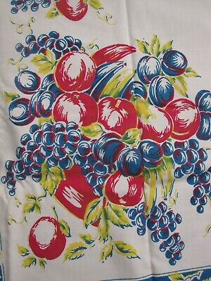 Vintage Cotton Tablecloth, Fruit plums apples bananas 54/60