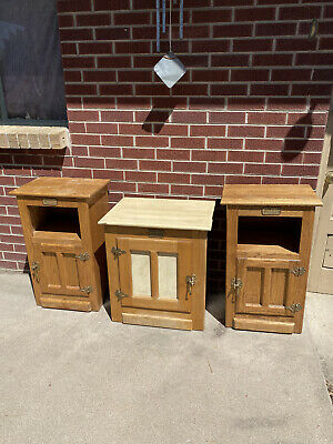 Set of 3 Vintage White Clad Oak Ice Box End Side Tables Simmons Hardware