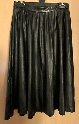United Colours of Benetton Black Faux Leather Midi Skirt Size UK 10
