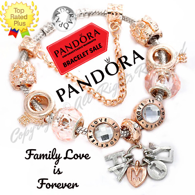 Authentic Pandora Bracelet Silver FAMILY LOVE with Rose Gold European Charms New
