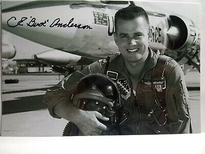 BUD ANDERSON Hand Signed Autograh 4X6 PHOTO - TRIPLE ACE WWII P-51 PILOT