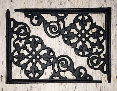 SET OF 2 VICTORIAN FLORAL PATTERN BRACKETS Antique Styled cast iron braces BLACK