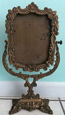 Vintage Neo Classical Cast Solid Brass Ornate Floral Vanity W Betina(No Mirror)