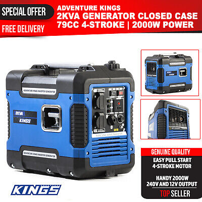 2 kVA Generator Petrol Pure Sine Wave Inverter Portable Camping Rated 2000W