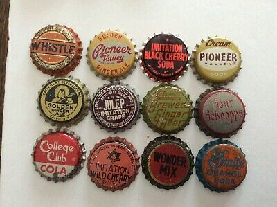 12 Different  Soda Bottle Caps  - Unused - Cork  Lined - Whistle