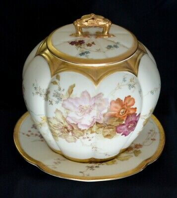 Antique Royal Worcester Porcelain Biscuit Jar with matching rare plate, 1899