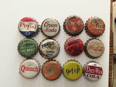 12 Different  Soda Bottle Caps  - Used - Cork  Lined - Pepsi