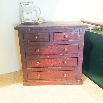 Antique Wood Mahogany Spice Cabinet with Drawers