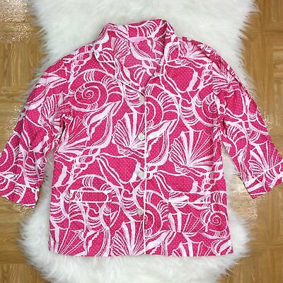 Lilly Pulitzer Shell Print Size Small Pajama PJ Sleep Top Shirt Pink White