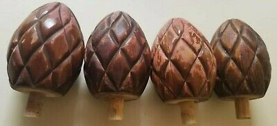 "Vintage Lot of 4 Cherry Wood Wooden Pineapple Finials 4"" tall (b24)"