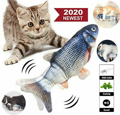 "11"" Electric Moving Cat Kicker Fish Toy, Realistic Flopping Fish, Wiggle & Sing"