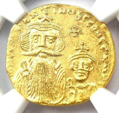 Constans II and Constantine IV AV Solidus Gold Coin 654-668 AD - NGC MS (UNC)