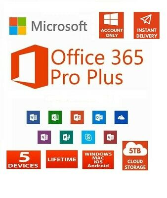 Microsoft Office 365 Pro Plus 2019 Lifetime Account 5 Devices Users 5TB Cloud