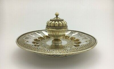 Superb Persian Asian Thai Indian Mughal Silver Incense Burner Spice Box Tray