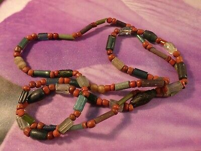 Ancient Pyu S.e. Asia Glass Heirloom Necklace Crystal Gold In Glass 26 1/2 Inch