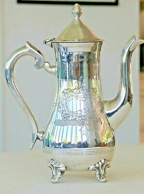 Vintage silver plated teapot or coffee pot with decorative vacant cartouche
