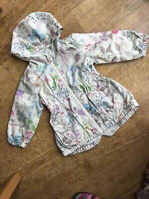 NEXT Childrens Cream Floral Lightweight Raincoat, Cotton Lined With Hood, Age 2