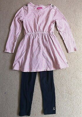 Joules Girls Pink Stripe Tunic Top And Leggings Set Outfit Age 6